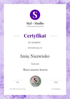 Certyfikat Styl Studio